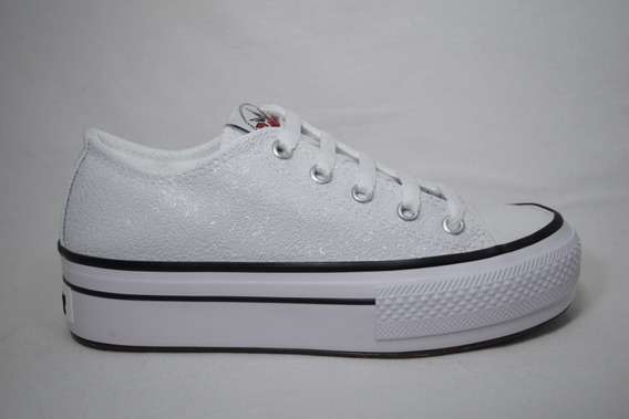 Zapatilla Alta Simil All Star Blanca Glitter Marca Roller