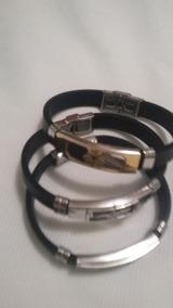 3 Pulseira Bracelete Masculina Aço Inoxidável Banhada