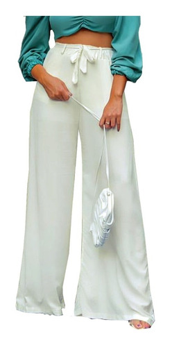 Imagem 1 de 6 de Pantalona De Elástico Tecido Viscose Com Forro E Bolso