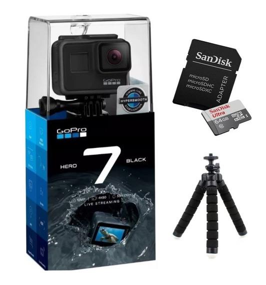 Câmera Digital Gopro Hero 7 Black + Cartão 64gb + Tripé Flex