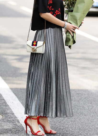 Falda Larga De Cintura Elástica Plisada De Color Puro