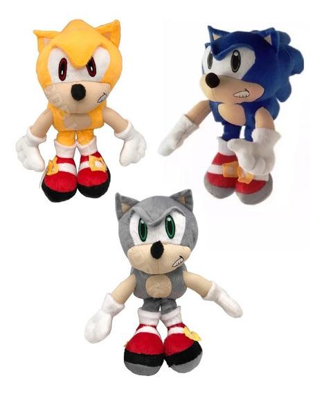 3 Pelúcia Sonic Hedgehog, Super Sonic E Sonic Silver