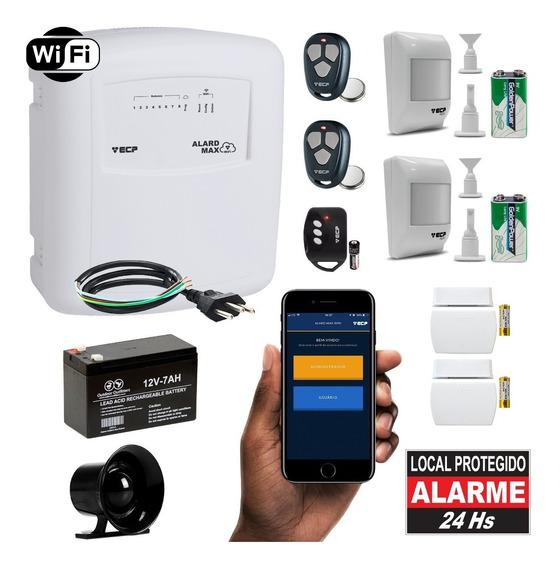 Kit Alarme Wifi Residencial Wireless Internet App 4 Sensores