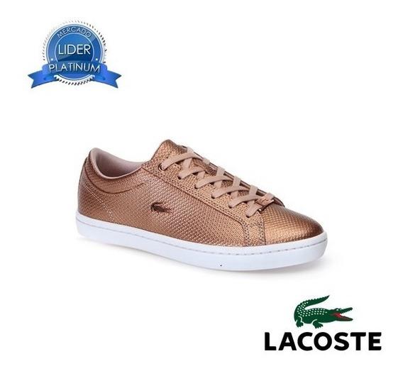 Zapatillas Lacoste Straightset 318 2 Cuero R 208 G 312 Mujer