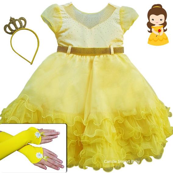 Vestido Infantil Festa Luxo Bela E A Fera Com Coroa E Luvas