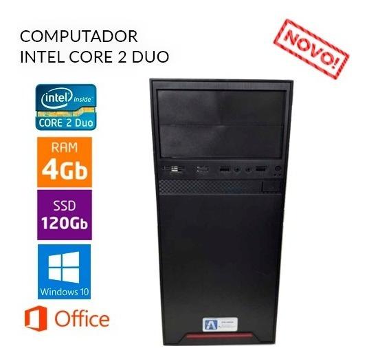 Computador Intel Core 2 Duo 4gb Ram Ssd 120gb - Novo