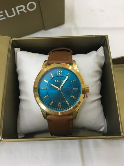 Relógio De Pulso Euro 2036lzc Couro Marrom E Azul Feminino