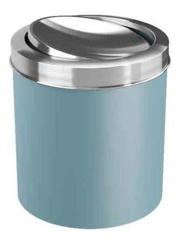 Lixeira Com Tampa Basc Azul Fog Inox 5,4l  Coza