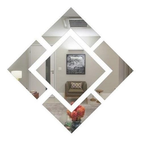 Espelho Acrílico Losango Decorativo 80x80 Cm - Promoção