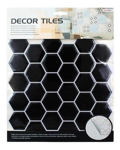 Azulejo Vinil Adhesivo Venecitas 3d Hexa Negro -25.5x25.5 Cm