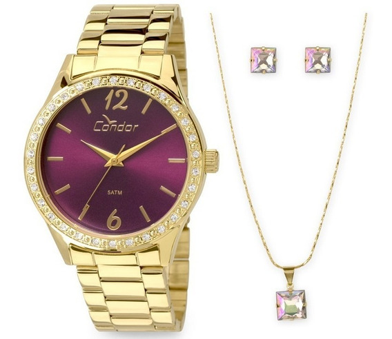 Relógio Condor Feminino Kit Corrente E Brinco Co2035kol/k4t