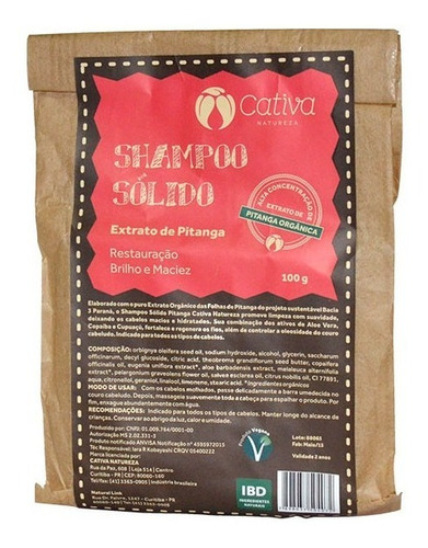 Shampoo Sólido Pitanga Natural Vegano Cativa Natureza 100g