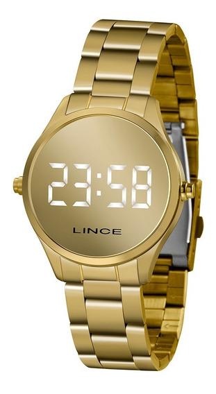 Relógio Lince Feminino Dourado Mdg4617l Digital Espelhado