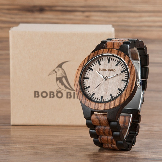 Relógio Masculino Madeira Analógico Bobo Bird N302