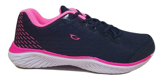 Zapatillas Gaelle Deportiva Mujer Running Ng/fuxia N° 35/40