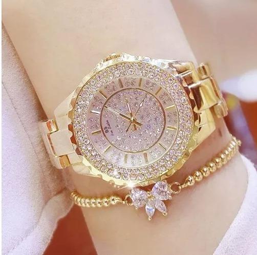Relógio Feminino De Pulso Bs 0280 Elegantecom Pedrarias Luxo