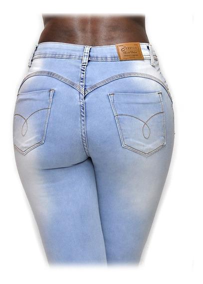 Calça Jeans Azul Clara Feminina Com Laycra 734 Rasgada Pernas Marca Jezzian Cintura Média Alta Barra Skinny Bolso Bumbum