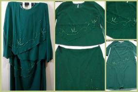 Roupa Vestido Festa Usado 1 X Tam G Impecável Verde