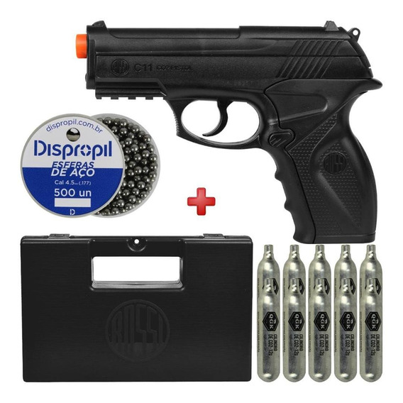 Pistola Co2 4.5mm Rossi Win Gun C11 + Case + Kit Recarga