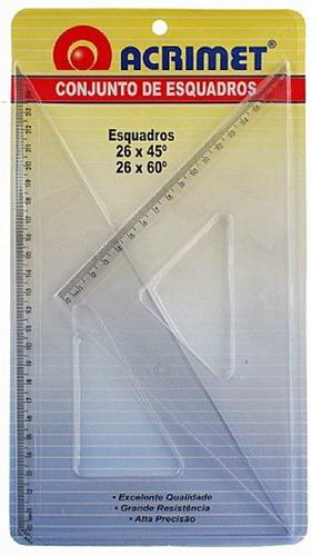 Imagem 1 de 1 de Esquadro Acrimet 568.0 Escolar De 45 E 60  Graus Com 26 Cm