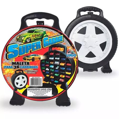 Maleta Super Garagem + 10 Carrinhos Carro Tipo Hot Wheels