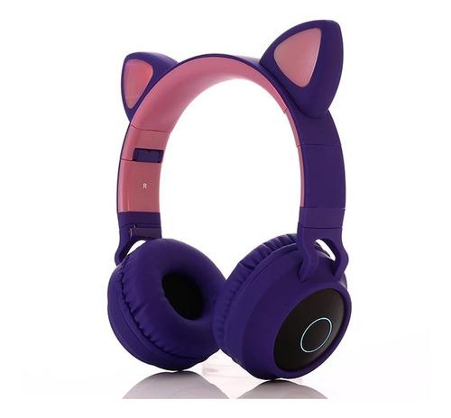 Diadema Bluetooth Orejas De Gato Luces Led Audífono Radio Fm
