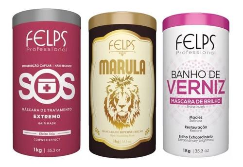 Felps Máscaras Sos + Banho De Verniz+ Marula 1kg+ Brinde