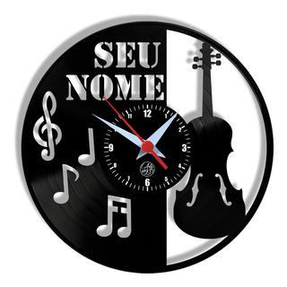 Relógio De Parede Vinil - Violino Personalizado Instrumento