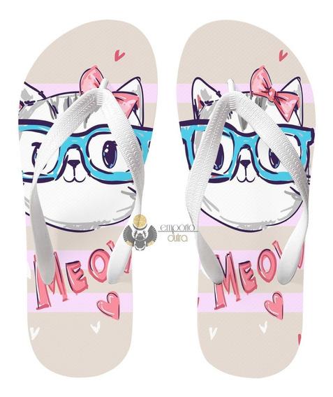 Chinelo Gato Óculos Meow Gatinho Felino
