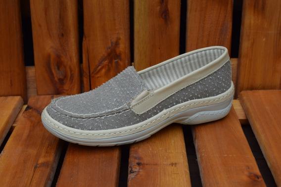Zapato De Cuero Combinado Con Lona Mujer Dama