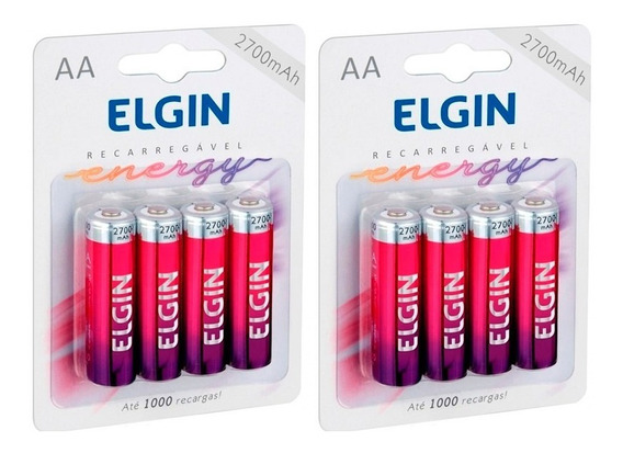 8 Pilhas Recarregáveis Elgin Aa-2700 Mah