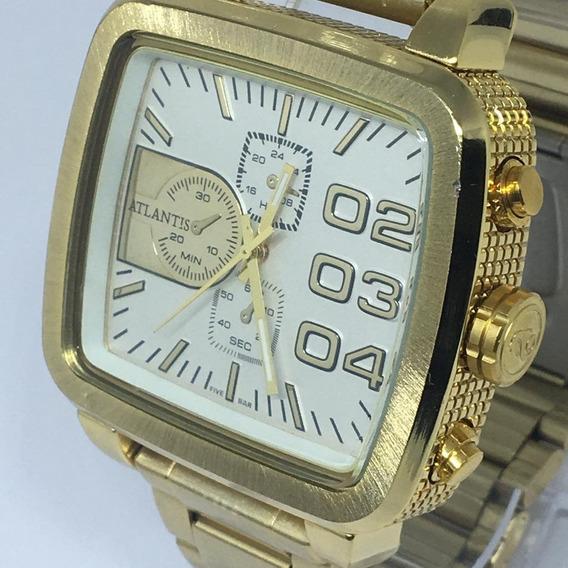 Relógio Original Atlantis A3339 Quadrado Dourado