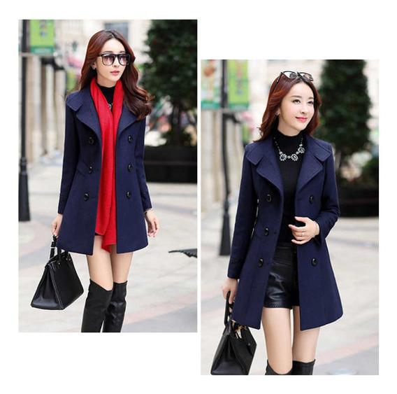 Abrigo Mujer Nuevo Color Sólido Lana Coreana