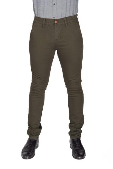 Pantalón Casual De Vestir Skinny Verde Olivo Hombre