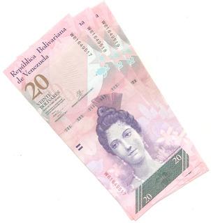 Tres Billetes De 20 Bsf Unc De Octub 2013 W8 Bs. 620.000._