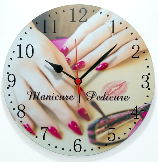 Relógio Parede Salão Manicure Unhas Esmalte Beleza 30cm