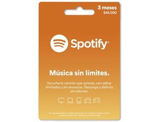 Tarjeta Regalo Spotify 3 Meses Región Colombia