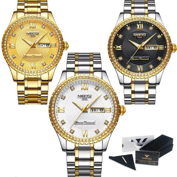 Relógio Feminino Dourado Grande Nibosi Ch242h Original