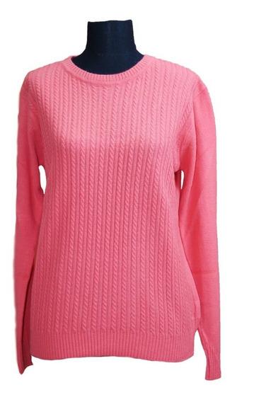 Sweater Tejido Mujer Cuello Redondo Trenzas 3021