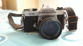 Máquina Pentax Km + Grande Angular + Flash Acoplável + Case