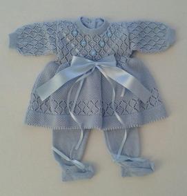 Batizado Maternidade Vestido Mangas Crochê E Calça Ref.161