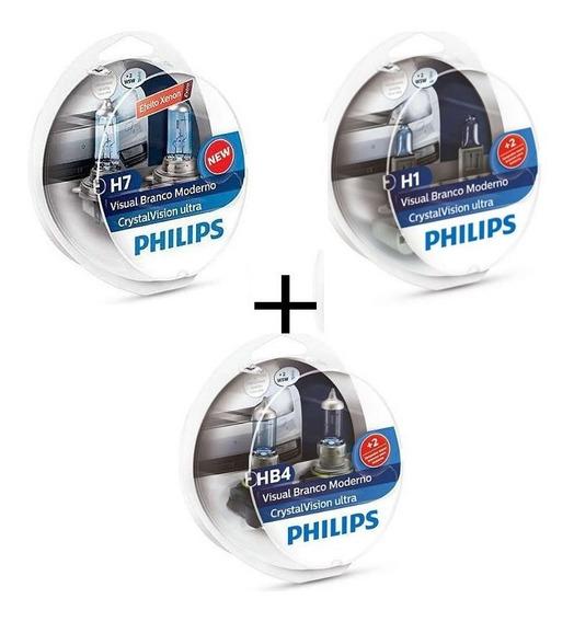 Kit Lampada Philips Crystal Vision Ultra H7 + H1 + Hb4 4300k