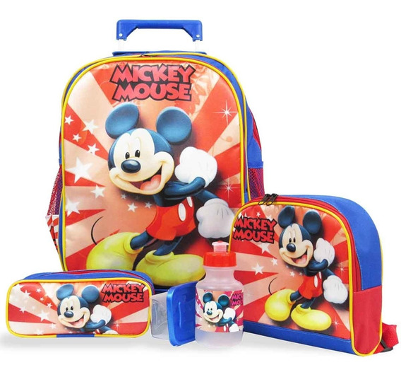 Kit Mochila Escolar Infantil Rodinhas G Mickey F1
