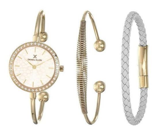 Relógio Analógico Daniel Klein Gift Set Dk12100-3 + Pulseira