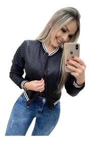 Blazer Com Zíper Matelassê Casaco Blusa De Frio Estilosa