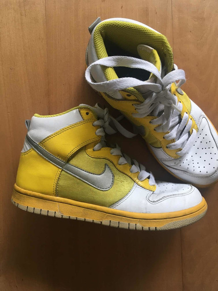 Nike Zapatillas Dunk High Cuero T36.5 Blanco Y Amarillo
