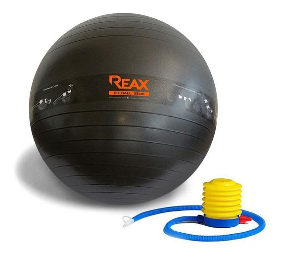 Bola Pilates 55 Cm Desenho De Exercícios E Bomba Grátis Reax
