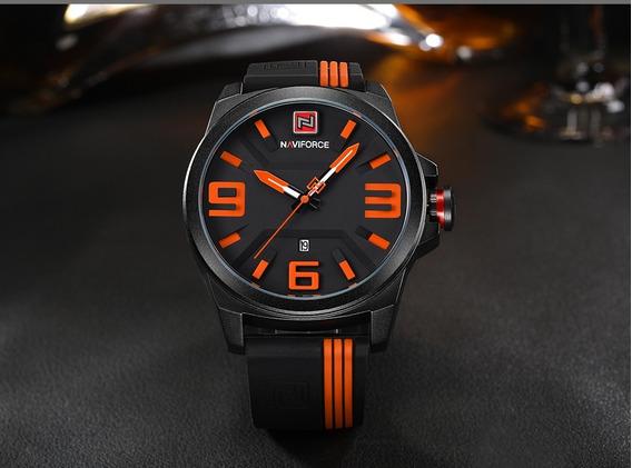 Relógio Naviforce Masculino Esportivo Original Laranja