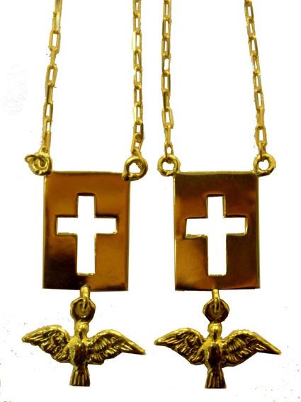 Escapulario Cruz Com Espirito Santo Em Ouro 18 Kilates