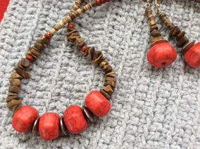 Conjunto Vermelho Madeira Pedras Naturais#feminino #elegante